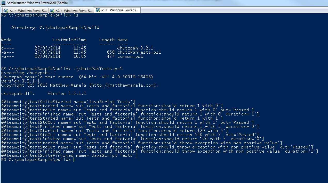 The execution of all javascript tests of the solution with Chutzpah runner using Powershell