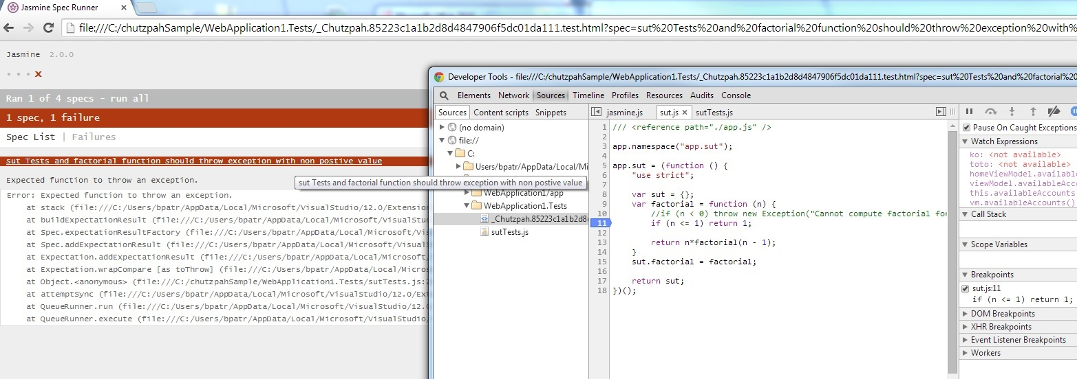 Then the debugging sessions happens in your browser (here Chrome). Clicking again the links reexecute the tests.