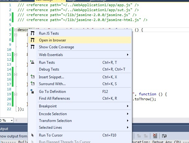 Chutzpah Visual Studio extension creates web page for running/debugging tests in the web browser.