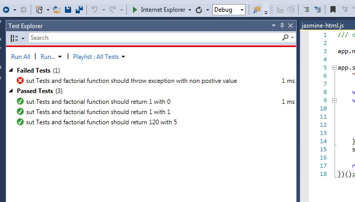 Run all our test with the Visual Studio test explorer. As expected we encounter a failure.