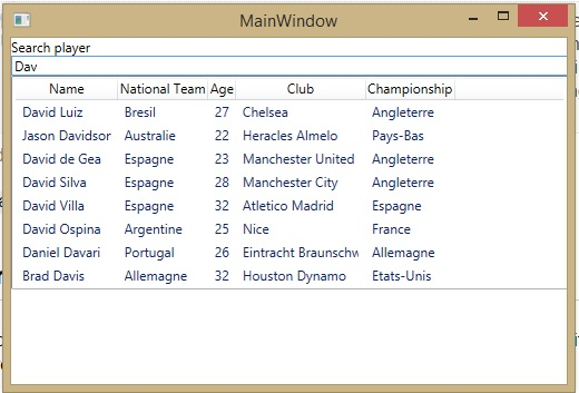 Searching 'dav' in the ListView display a list of results starting with ex Chelsea's player David Luis...