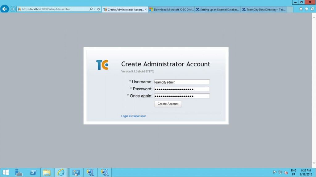 Final step! create an administrator for TeamCity web app